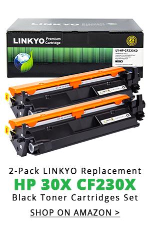2-Pack LINKYO Replacement Black Toner Cartridges for HP 30X CF230X