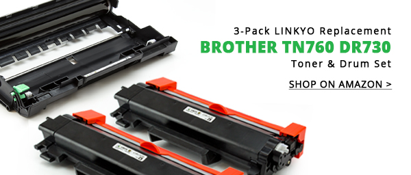 3-Pack LINKYO Replacement Toner & Drum Set for Brother TN760 DR730