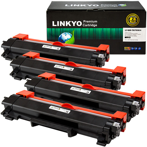 4-Pack LINKYO Replacement Black Toner Cartridges for Brother TN760