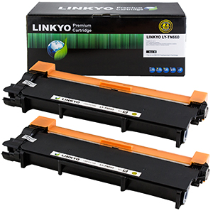 2-Pack LINKYO Replacement Black Toner Cartridges for Brother TN660