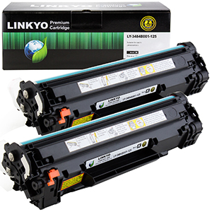2-Pack LINKYO Replacement Black Toner Cartridges for Canon 125