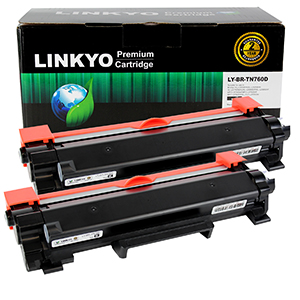2-Pack LINKYO Replacement Black Toner Cartridges Set for Brother TN760