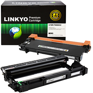 2-Pack LINKYO Replacement Black Toner Cartridge and Drum Unit Set for Brother TN660 DR630
