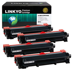 4-Pack LINKYO Replacement Black Toner Cartridges Set for Brother TN760