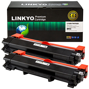 2-Pack LINKYO Replacement Black Toner Cartridges for Brother TN760